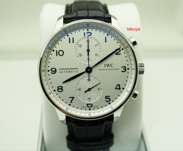 BRAND NEW Iwc PORTUGUESE CHRONOGRAPH IW371446 SILVER DIAL BLUE HANDS COMPLETE SET