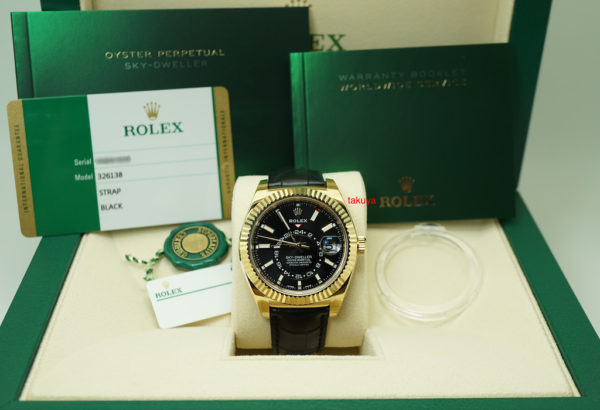 BRAND NEW Rolex 326138 SKY-DWELLER 18K YELLOW GOLD BLACK INDEX DIAL 2019 COMPLETE SET