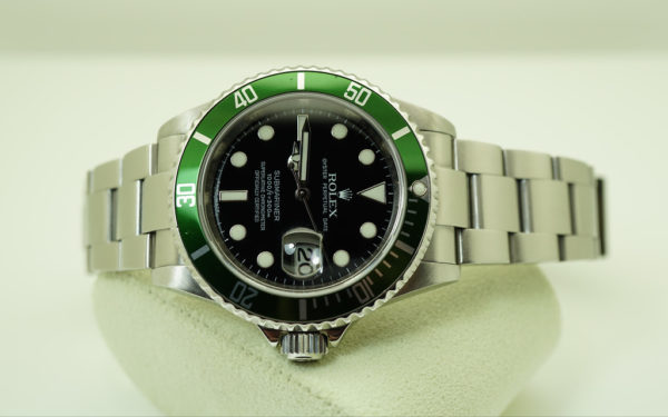 Rolex 16610LV GREEN SUBMARINER 50th ANNIVERSARY M SERIAL BOXES PAPERS